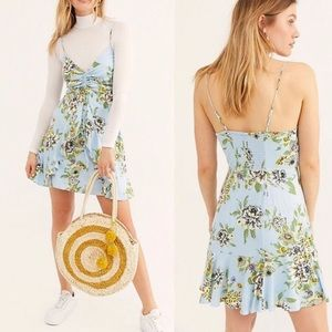 NWT FREE PEOPLE Blue Floral Ruffled Mini Dress